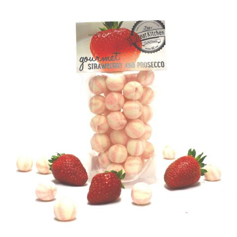Strawberry & Prosecco Hard Boiled Sweets Pouch - Gourmet Range The Treat Kitchen Confectionery 200g